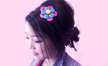 Button Flower Headband
