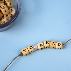 Pony Bead and Alphabet Bead Bookmark with Hemp Cord