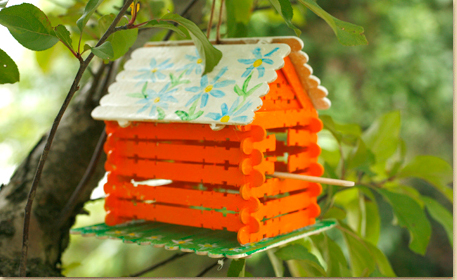 Bird House made of Wood Craft Sticks