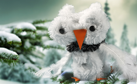 No Sew Fuzzy Snow Owl