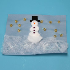 Kids Craft Winter Collage of a snowman
