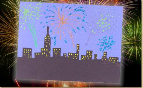 Glitter Fireworks Scene