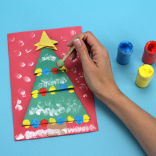 Hand made Origami Christmas Tree Card for Children