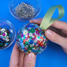 Sequin Styrofoam Christmas Ornament