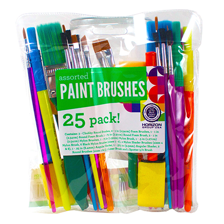 Paint Brushes 25 Pack Assorted Styles