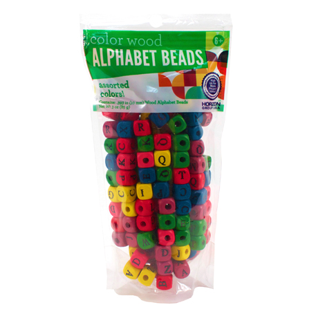 Wood Alphabet Beads Assorted Colors