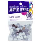 Silver Acrylic Jewels 9mm