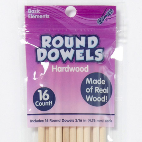 Wood Dowels Round 16 Pack 3/16 in
