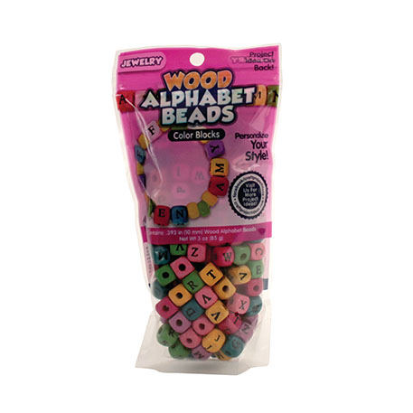 Alphabet Beads Large Wood Assorted Colors