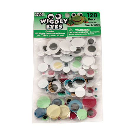Wiggly Eyes 120 Pack Assorted Sizes and Colors