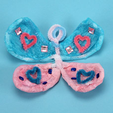 Kids Craft Butterfly made with Fuzzy Sticks and Decoupage Tissue Paper