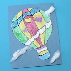 Kids Craft Glitter Painting of a Hot Air Balloon