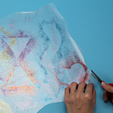 Kids Craft Placemat made with glitter and shapes