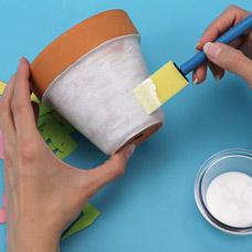 Decoupage flower pot kids craft