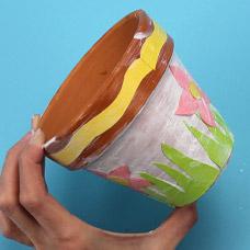 Kids Craft Glitter and decoupage flower pot