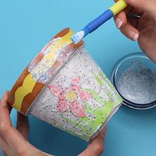 Glitter and decoupage flower pot