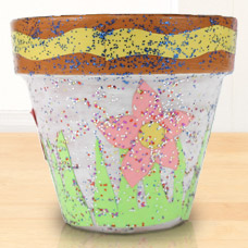Kids Craft Glitter, Collage, decoupage flowerpot