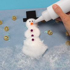 Snowman collage kids craft with glitter