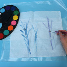 watercolor and tissue paper art project