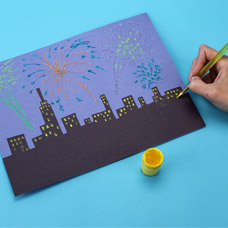 Make a New Years Eve skyline collage with children
