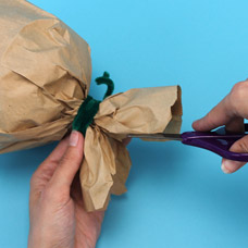Paper Bag Pumpkin Decoration for Halloween