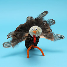 Kids Craft Pinecone Turkey