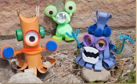 Recycled monsters craft project ideas for Creative ideas using recycled materials