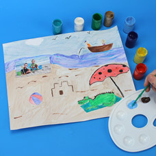 Use washable paint to decorate a craft about your summer memories