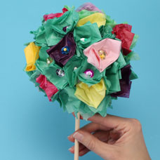 topiary with paper flowers wooden dowel and sequins