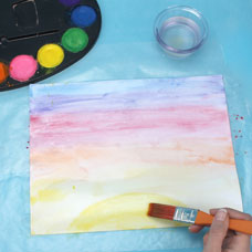 watercolor sunset project for kids