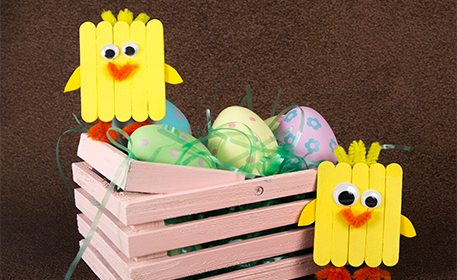 Mini craft stick chicks craft project ideas for Beauty project ideas