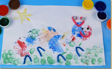 Finger Paint Caterpillar Collage Craft Project Ideas