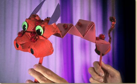 Egg Carton Dragon Puppet Craft Project Ideas