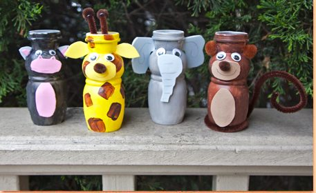 Recycled Yogurt Cup Zoo Animals Craft Project Ideas