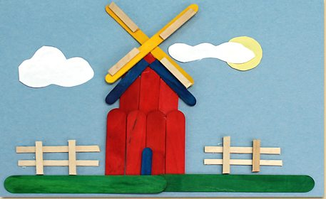 Use Colorful Wooden Sticks To Create A Picture Of Windmill In Field Your Imagination And Combine Many The Different Size Colored