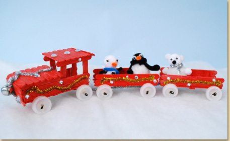 Christmas Wood Stick Train - Craft Project Ideas