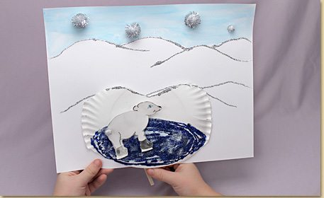 Make a skating polar bear picture that slides along the ice! Create an interactive scene using a paper plate and wood craft stick! & Skating Polar Bear - Craft Project Ideas
