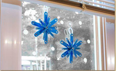 Snowflake Window Hangers Craft Project Ideas
