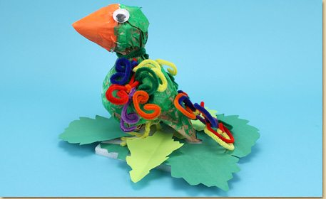 fuzzy sticks craft ideas paper bag parrot with fuzzy stick craft project ideas 4539