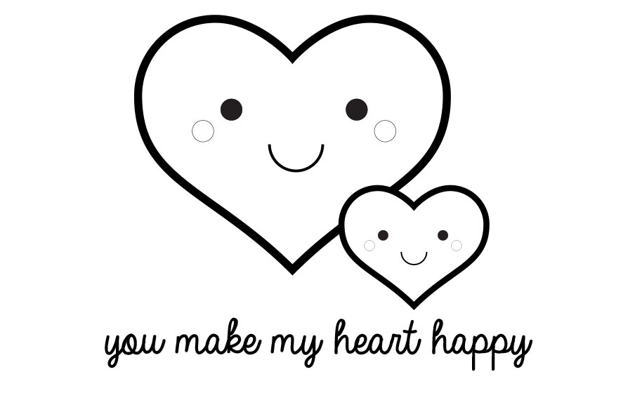 You Make My Heart Happy Valentine S Day Printable Coloring Page