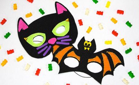halloween cat and bat masks